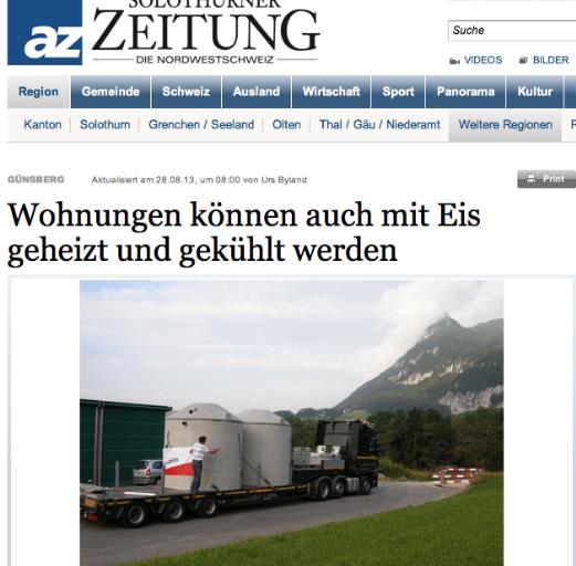 Solothurner Zeitung – Wohnungen können auch mit Eis geheizt und gekühlt werden