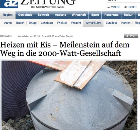 Aargauer Zeitung – Heizen mit Eis ; Meilenstein auf dem Weg in die 2000-Watt-Gesellschaft