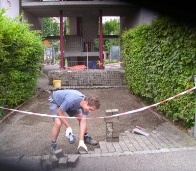 Naturstein: Pflastersteine – Einfahrt MFH